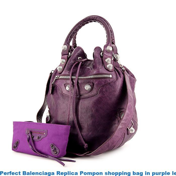Perfect Balenciaga Replica Pompon shopping bag in purple leather ... efe97e50cd656