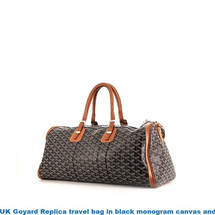 df5366c0f0 UK Goyard Replica travel bag in black monogram canvas and brown leather