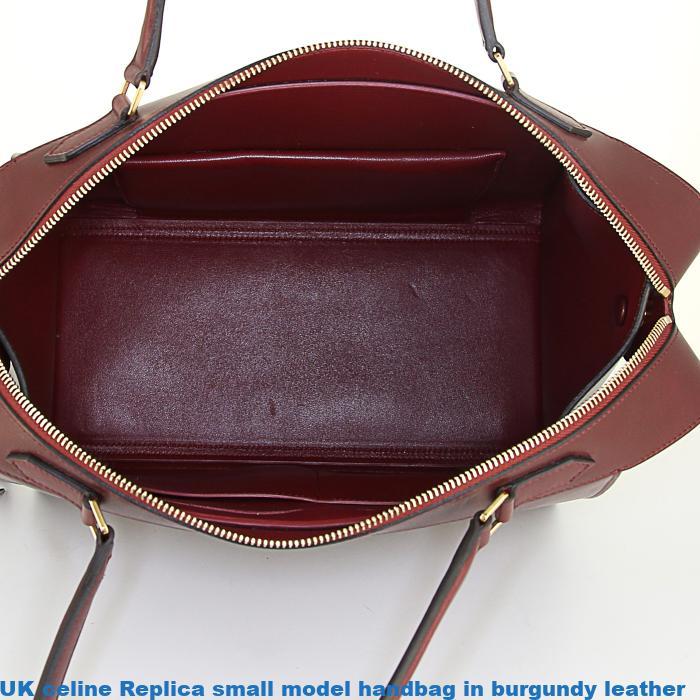 Uk celine replica small model handbag in burgundy leather for Replica mobel england