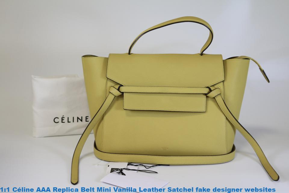 1 1 Céline AAA Replica Belt Mini Vanilla Leather Satchel fake designer  websites acee0aef384f6