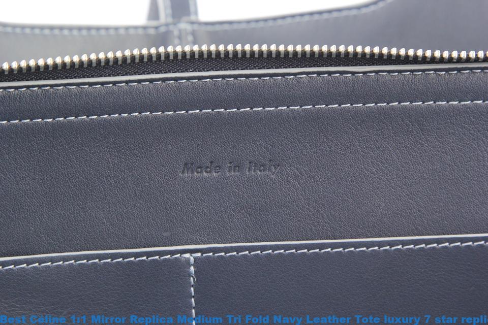 c4e6670e68f1 Best Céline 1 1 Mirror Replica Medium Tri Fold Navy Leather Tote luxury 7  star replica handbags