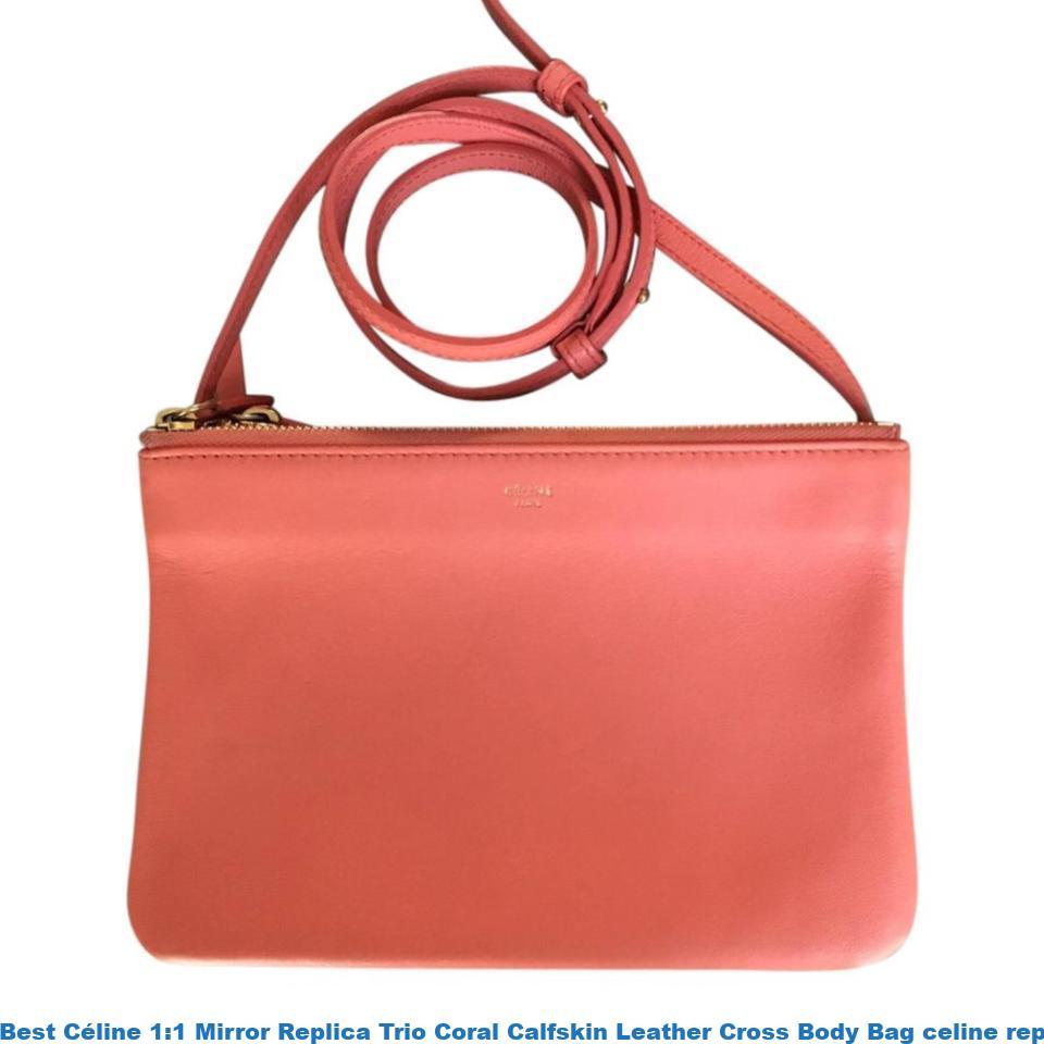 Best Céline 1 1 Mirror Replica Trio Coral Calfskin Leather Cross Body Bag  celine replica phantom bag 1e344ebd03ea2
