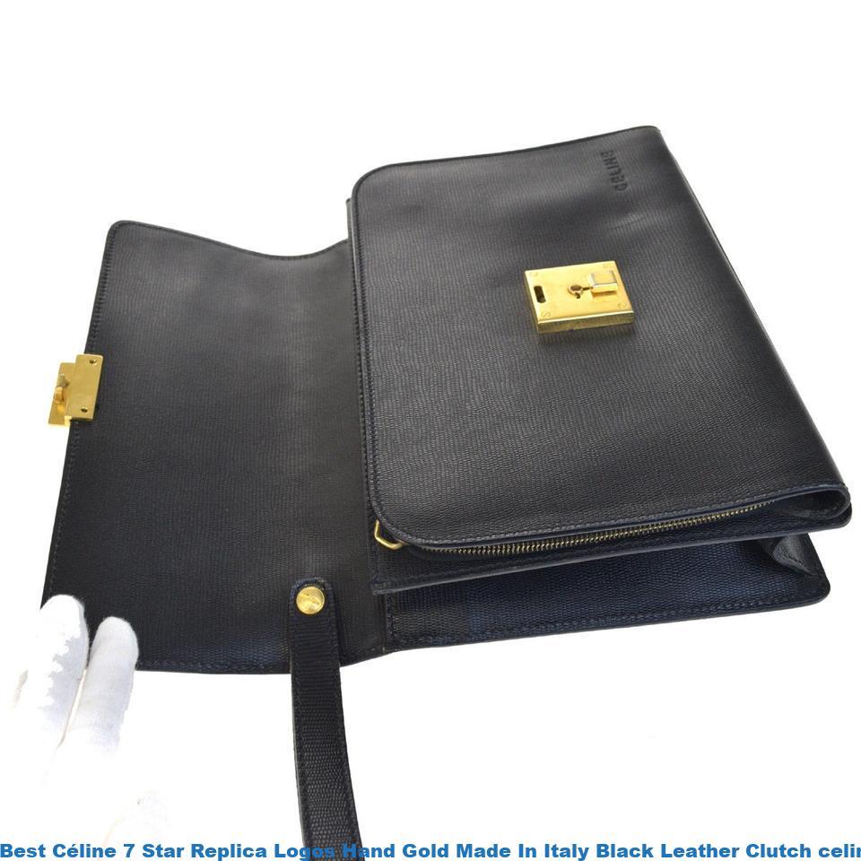 1e8c5c1f58b2 Best Céline 7 Star Replica Logos Hand Gold Made In Italy Black Leather  Clutch celine replica shoes
