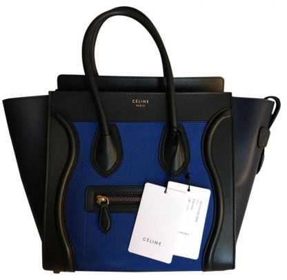 ffd6fe6b4e0f Cheap Céline AAA Replica Luggage Micro Limited Edition Tricolor Tote Blue  Black Navy Leather Satchel celine replica frame