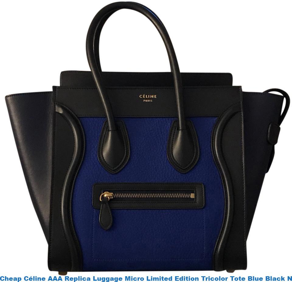 a5a4d6b17d Cheap Céline AAA Replica Luggage Micro Limited Edition Tricolor Tote Blue  Black Navy Leather Satchel celine replica frame