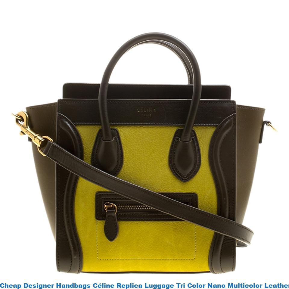 a339e58e2856 Cheap Designer Handbags Céline Replica Luggage Tri Color Nano Multicolor  Leather Tote celine replica big bag