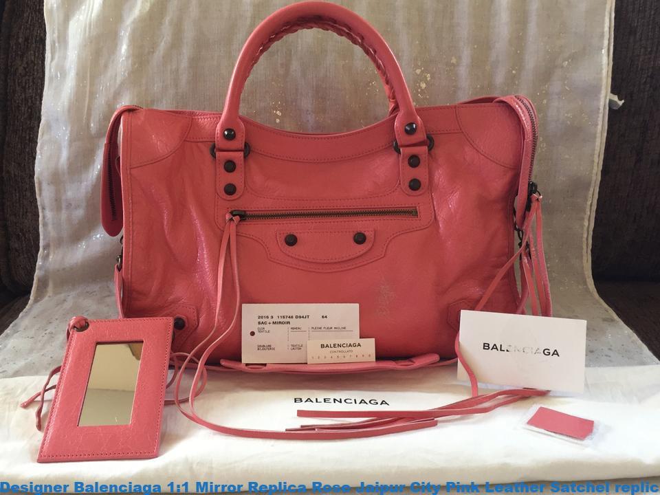 e21bab92c Designer Balenciaga 1:1 Mirror Replica Rose Jaipur City Pink Leather  Satchel replica balenciaga triple s