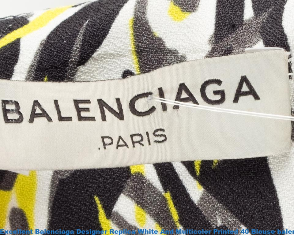 ebaf6a7aba7 Excellent Balenciaga Designer Replica White And Multicolor Printed 40  Blouse balenciaga ville bag
