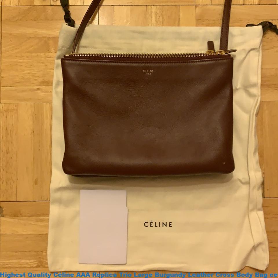 Highest Quality Céline AAA Replica Trio Large Burgundy Leather Cross Body Bag  celine nano 62ffcd1b8eb90