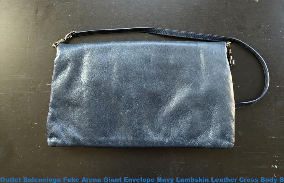2fd34fe2f Outlet Balenciaga Fake Arena Giant Envelope Navy Lambskin Leather Cross  Body Bag balenciaga triangle bag