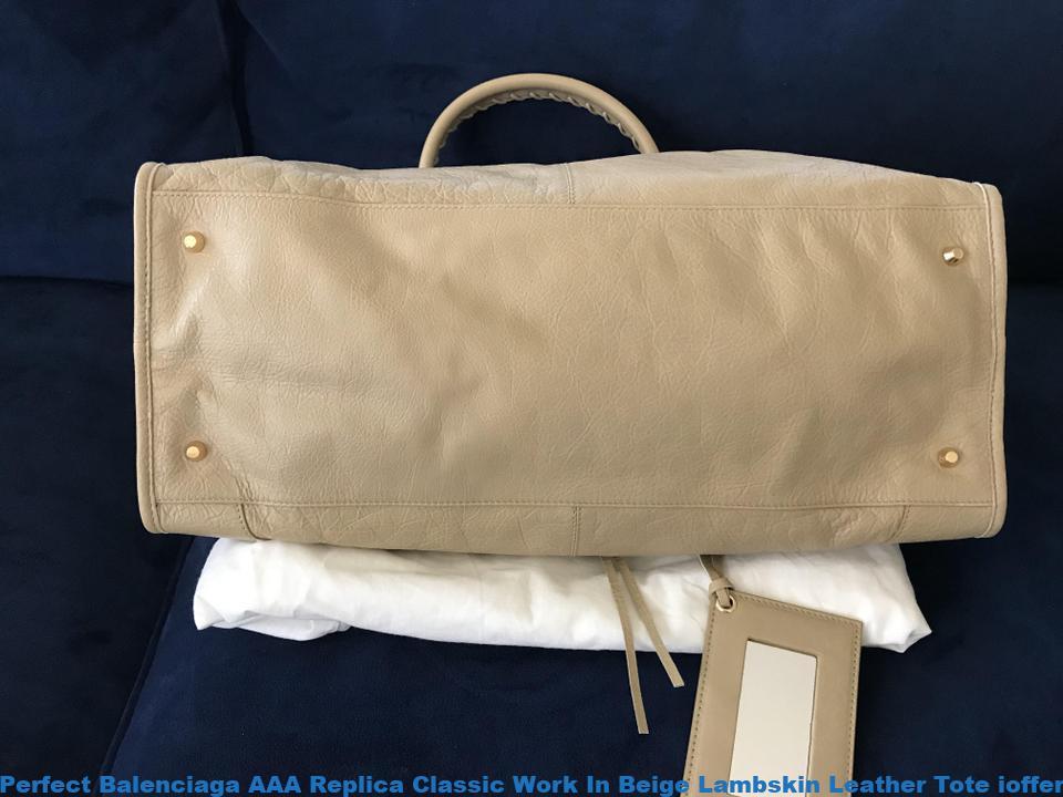 acheter populaire 4c703 fe866 Perfect Balenciaga AAA Replica Classic Work In Beige Lambskin Leather Tote  ioffer balenciaga review