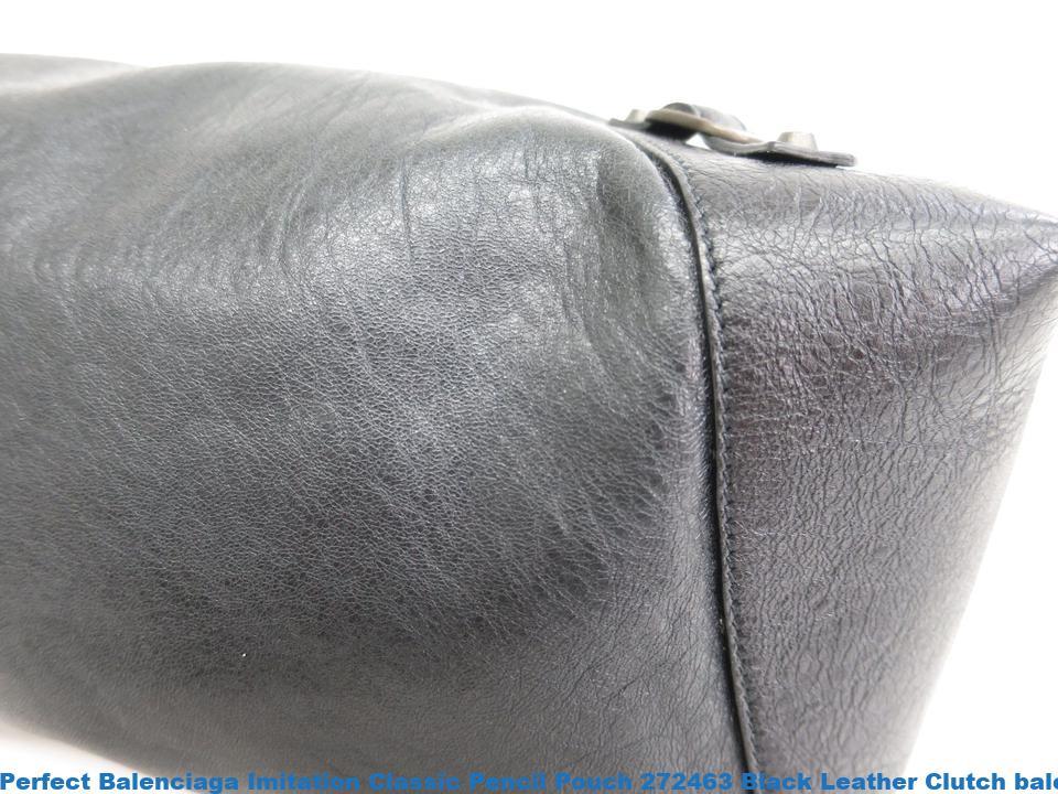0a841115f46 Perfect Balenciaga Imitation Classic Pencil Pouch 272463 Black Leather  Clutch balenciaga bag ikea