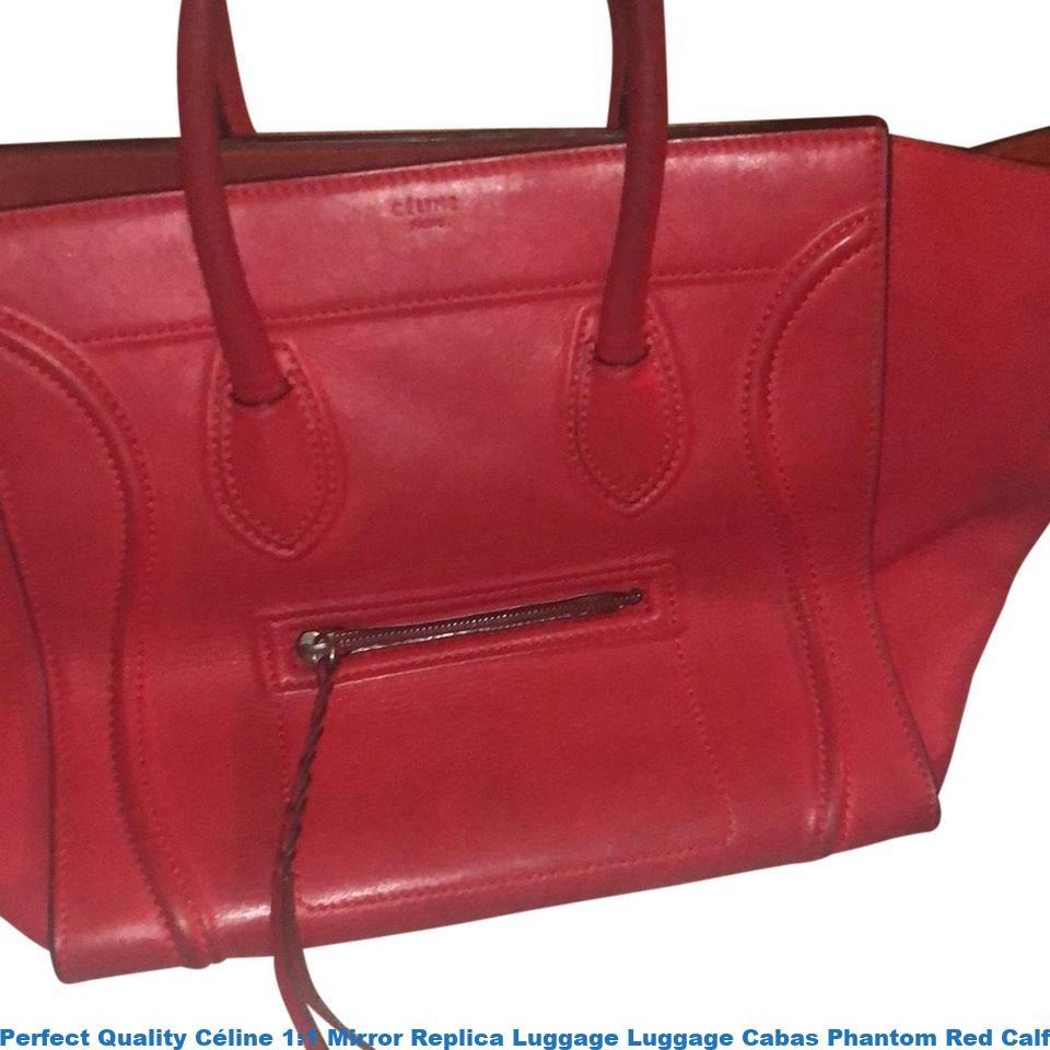 Perfect Quality Céline 1 Mirror Replica Luggage Cabas Phantom Red Calfskin Leather Tote Celine Bag Price