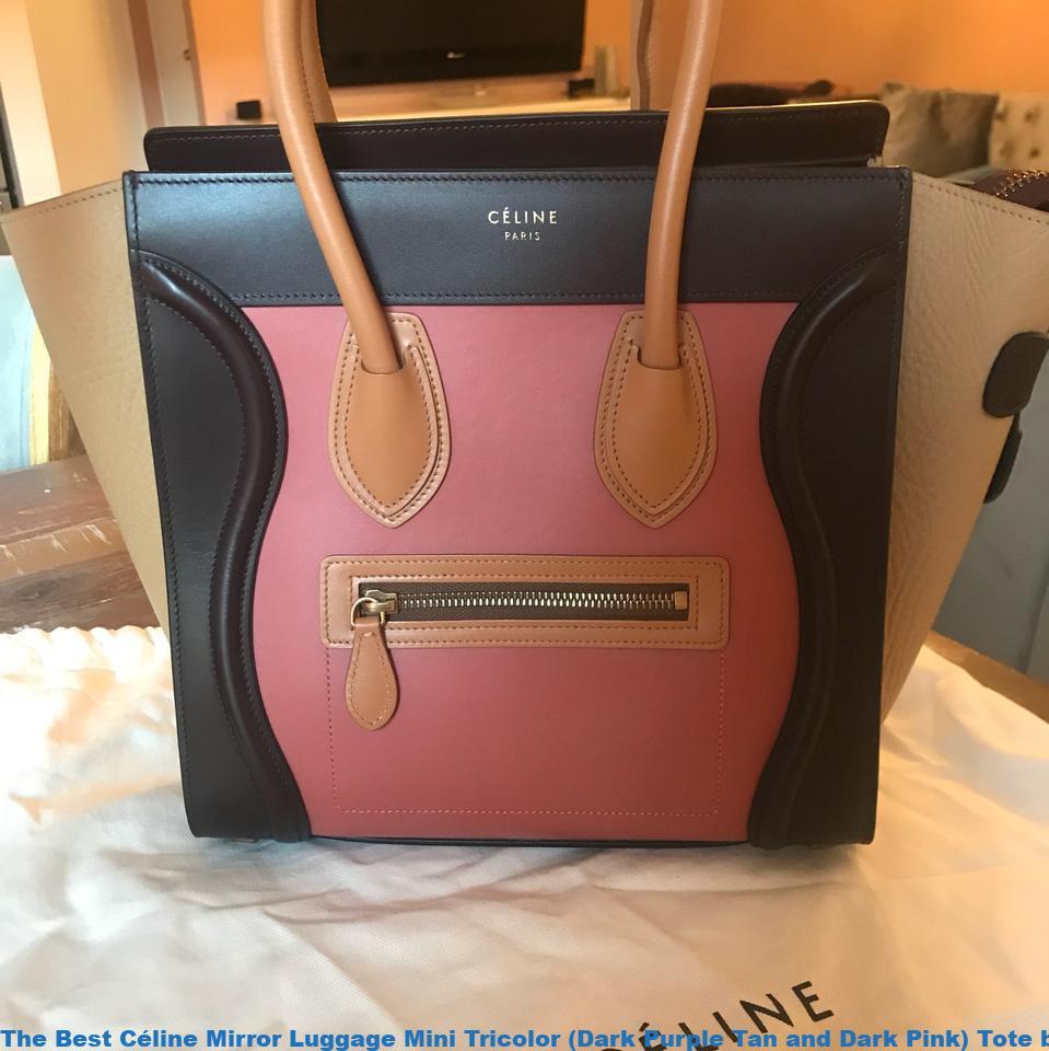 The Best Céline Mirror Luggage Mini Tricolor (Dark Purple Tan and Dark  Pink) Tote best replica handbags 2018 5cacad8ec5f45