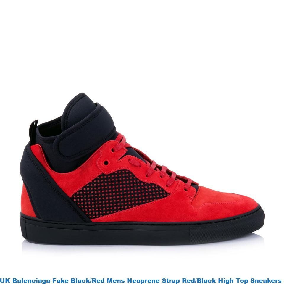 Mens High Size Redblack Uk Us Balenciaga Replica Fake Strap Blackred Bag Sale Neoprene Sneakers Top stdChQr