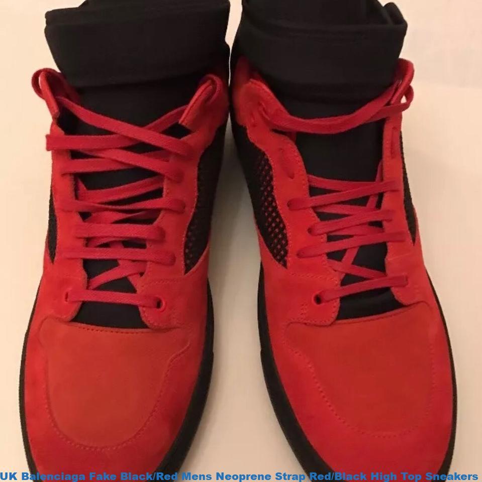 Onwijs UK Balenciaga Fake Black/Red Mens Neoprene Strap Red/Black High DZ-49