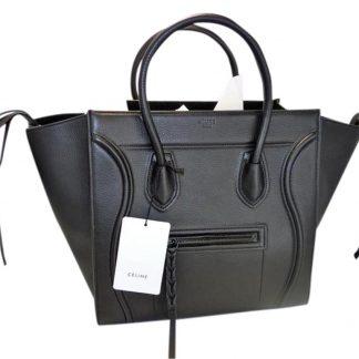 80b6c1d93b0f UK Céline Fake Luggage Cabas Phantom Medium New Black Leather Tote celine  replica trio bag