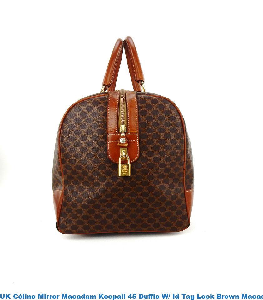 e345d4c9ec UK Céline Mirror Macadam Keepall 45 Duffle W  Id Tag Lock Brown Macadam  Canvas Leather Weekend Travel Bag celine replica trio bag