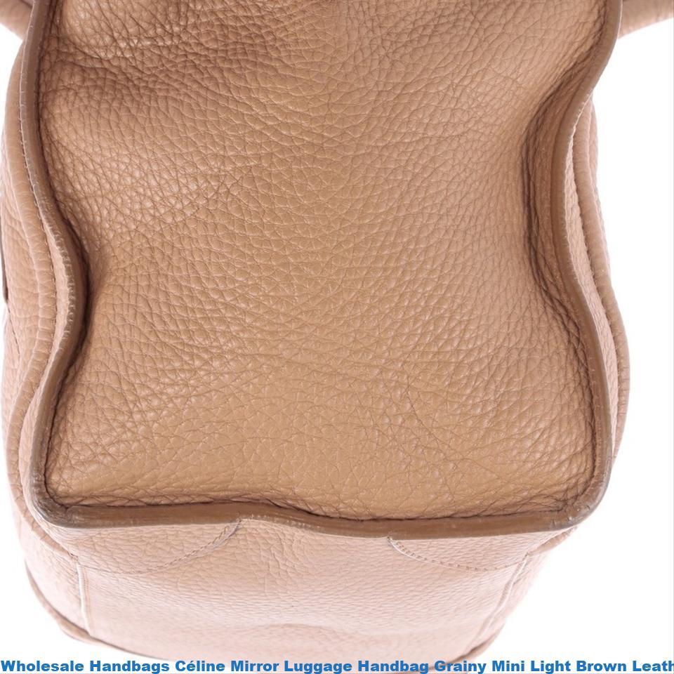 Whole Handbags Céline Mirror Luggage Handbag Grainy Mini Light Brown Leather Tote High Quality Replica China